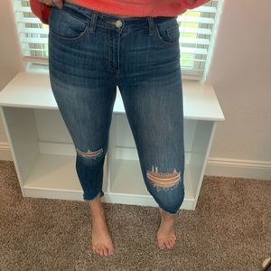Cute cropped & distressed jeans!